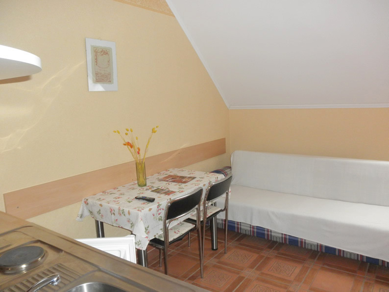 Gyula Apartment - the dining area and the sofa